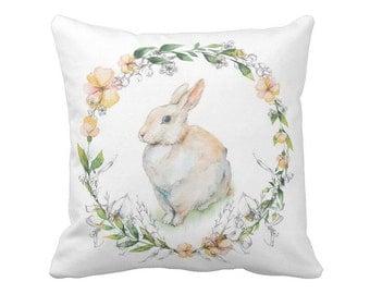 Easter Decor Pillow Cover Bunny Wreath