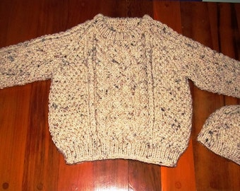 Aran Knit Pullover with Matching Hat