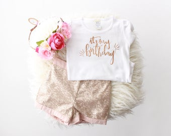 "Rose Gold ""It's my birthday"" girl fit t-shirt or bodysuit 