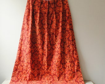 Vintage Curtains, Pair of Red Vintage Curtains