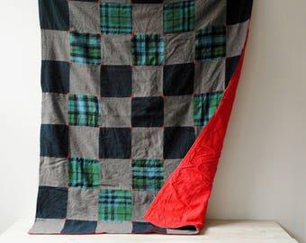 Vintage Patchwork Quilt, Handmade Blanket