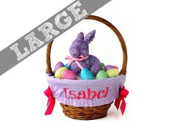 Large Personalized Easter Basket Liner for oversized baskets - Lavender Tiny Dots - Basket not included - Jumbo
