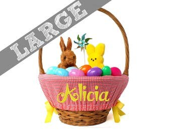 Large Personalized Easter Basket Liner for oversized baskets - Coral Gingham- Basket not included - Jumbo