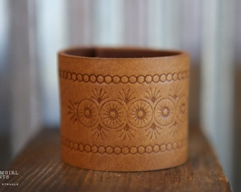 CUSTOM HANDSTAMPED CUFF - bracelet - personalized by Farmgirl Paints - light brown cuff with circle embossed design