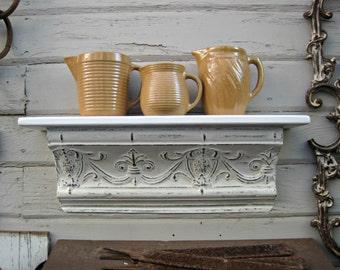 Antique ceiling tin wall shelf. Architectural salvage shelf. Off white Bathroom kitchen shelf. Shabby. Floating shelf. Vintage shelf.