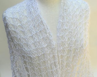 Sequined Mohair& Silk Shawl/ Hand Knit/ White