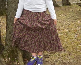 Girls Long Modest Handmade Dark Purple Floral Tiered Peasant Prairie Skirt Size 12/14