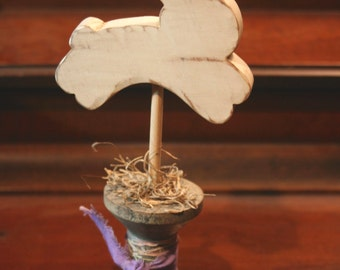 Wooden Bunny on Spool Primitive Easter Decor