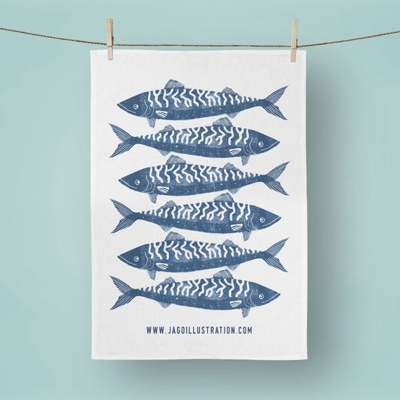 Cornish Mackerel - Tea Towel
