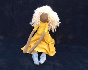 Messy hair fabric doll - blonde in yellow