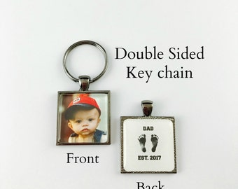 New Dad - Double sided key chain - baby photo on front - EST. 2017 on back - Square Key Chain - 4 finishes available
