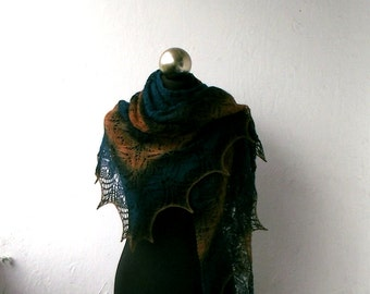 Multicolor hand knitted lace shawl, knitted merino shawl
