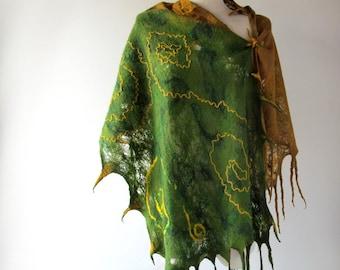 Cobweb Felted scarf, Felted scarf , green felted shawl, green yellow wool scarf , light spring scarfv  women scarf  - Green forest