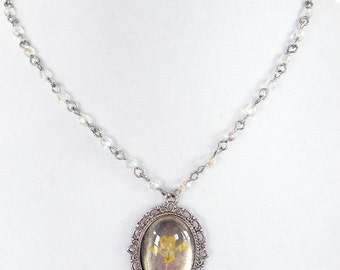 Cameo Necklace Silver pendant with Pressed Yellow Wild Flower and Crystal Beaded Chain