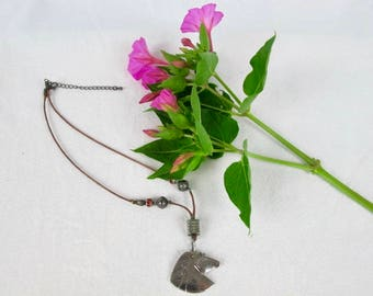 Horse head metal & Leather Equestrian necklace recycled