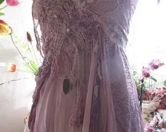 Purple haze short silk dress, fractal wings burning man clothing