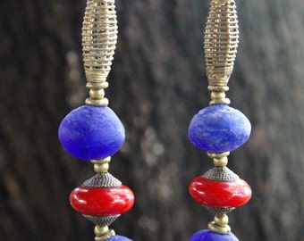 Big Blues African Necklace w Extra Large Cobalt Blue Recycled Glass Beads and Tibetan Red Copal Beads Colorful Ethnic Boho Jewelry