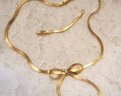 Vintage Avon Signed Gold Tone Bow Necklace, Yellow Gold Tone Holiday Necklace, Gift for Her