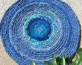 "Rag rug ""braided"" crochet ocean blue, nautical decor, beach, summer rug, baby boy rug, boho  chic"