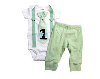 Mint, Grey, and Blue Baby Boy 1st Birthday Outfit. Mint Cake Smash Set for Boys. Infant Boy Birthday Shirt. First Birthday Gray and Mint.