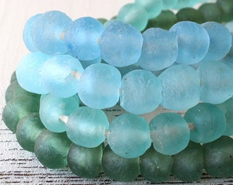 15mm Round Rustic Recycled Glass Beads From Ghana Africa  Beach Glass Style Beads - Jewelry Making Supply - 10 beads - Choose Color