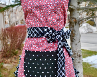 Black, White and Coral Reversible Apron