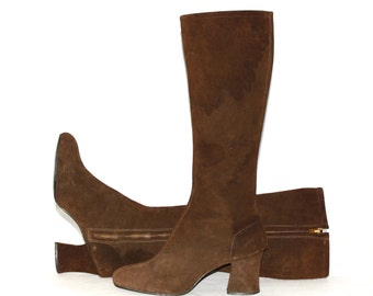 Vintage GOGO Boots Classic 1960s Brown Suede 8