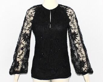 Vintage GIVENCHY BOUTIQUE PARIS Couture Black Lace Sequins Blouse