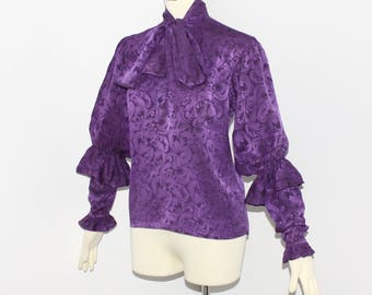 SAINT LAURENT Vintage Rive Gauche Purple Tiered Sleeve Peasant Blouse - Authentic -