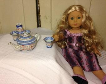 "VINTAGE  18"" Doll-Sized Porcelain Tea Service for 4 with Tea Pot"