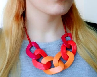 Chunky Red Statement Necklace, Red Orange Chain Link Necklace, Summer Necklace