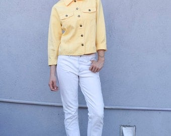 Vintage Yellow Cotton 1990's Minimalist Button Up Cropped Work Lightweight Jacket S/M