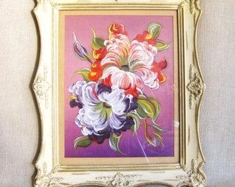 Painting, Painting of Flowers, Flowers, Floral Art, Painting on Silk, Framed, Handmade, Colorful, Purple, Art, Original, Antique Frame, Art