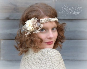 Flower Wrap Headband, Shabby Chic Flower Sash, Mori Girl, Boho