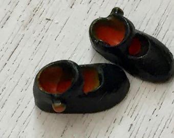 Miniature Shoes, Black Mary Jane Shoes, Dollhouse Miniature, 1:12 Scale, Dollhouse Accessory, Decor, Mini Shoes