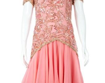 Oleg Cassini Vintage Pink Beaded Sequin Midi Dress, Size 4