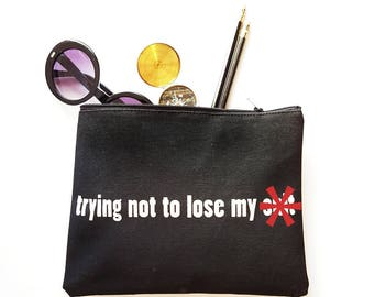 Lose My S**t Zipper Pouch Cotton Makeup Cosmetic Zip Bag Funny Gift for Women Made in Nashville Wholesale