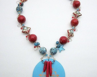 Colorful Bead Necklace -- Red & Blue Bead Necklace -- Coral Statement Necklace -- Cloisonne Necklace -- Coral Gemstone Bead Necklace