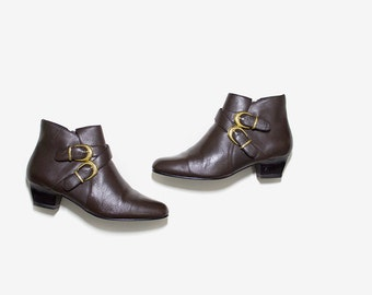 Leather Ankle Boots 6.5 / Brown Leather Boots / Buckle Boots / Zip Up Booties / Ankle Boots Women
