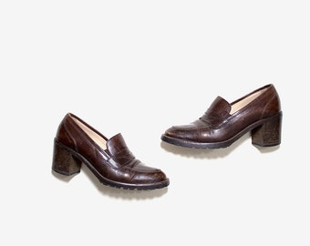 Vintage Leather Loafers 7 / Brown Leather Loafers / High Heel Loafers / Italian Leather Heels / Joan and David Shoes