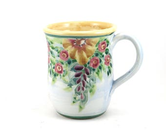 Unique Coffee Mug - Pale Blue Porcelain Tea Cup - Perfect for Floral Home Design - Handmade and Hand Painted
