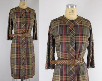 Vintage 1960s Dress l 60s Plaid Shirtdress