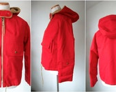 Red HOODED big zipper coat with lining and pockets - Misty Harbor coat - made in USA