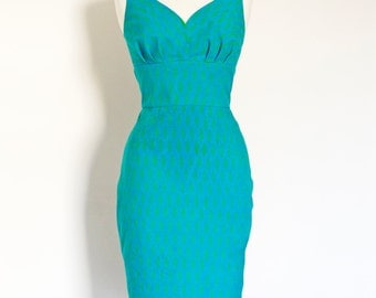 Size UK 12 - Aqua Blue Filigree Block Print Pencil Dress - Made by Dig For Victory