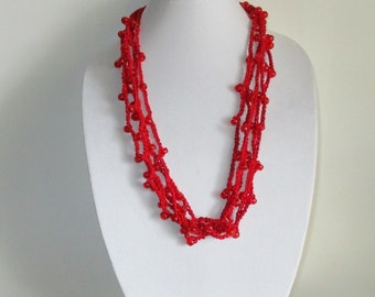 Vivid Red Crochet Necklace with Clear Red Beads, Beaded Crochet Multi Strand Necklace