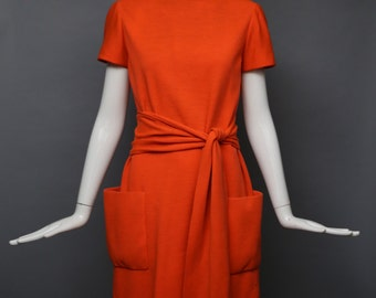 60s NORMAN NORELL clementine wool obi sash patch pocket classic shift DRESS tunic designer vintage 1960s