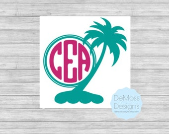 Palm Tree Monogram Vinyl Decal, Solid Colors, Palm Tree Sticker,  Removable, Nautical Decal, Car Decal, Beach Vinyl, Personalized