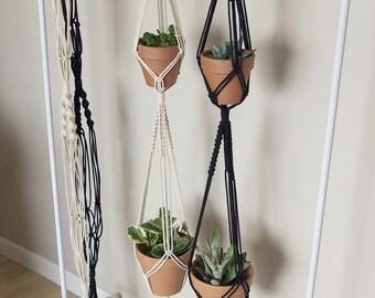 Double Macrame Plant Hanger | Macrame Double Planter | Double Plant Pot Holder | Natural White Cotton Rope | Boho Decor | Black Plant Hanger