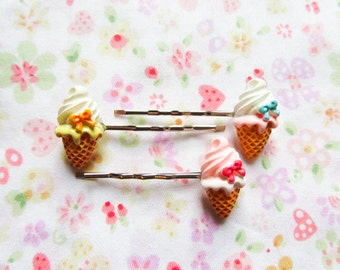 Cute Ice Cream Cone Hair Pins / Bobby Pins, Cute Hair Pins / Bobby Pins, Kawaii, Sweet Lolita, Cute, Ice Cream, Teen/ Girls Gift