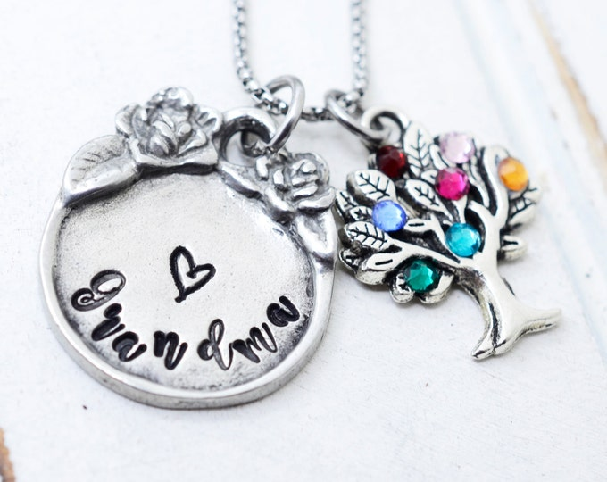 Gifts for Grandma, Grandma Gift, Gifts for Mom, Mothers Day Gifts, Grandma Necklace, Birthstone Necklace, Grandmothers Necklace, Family Tree